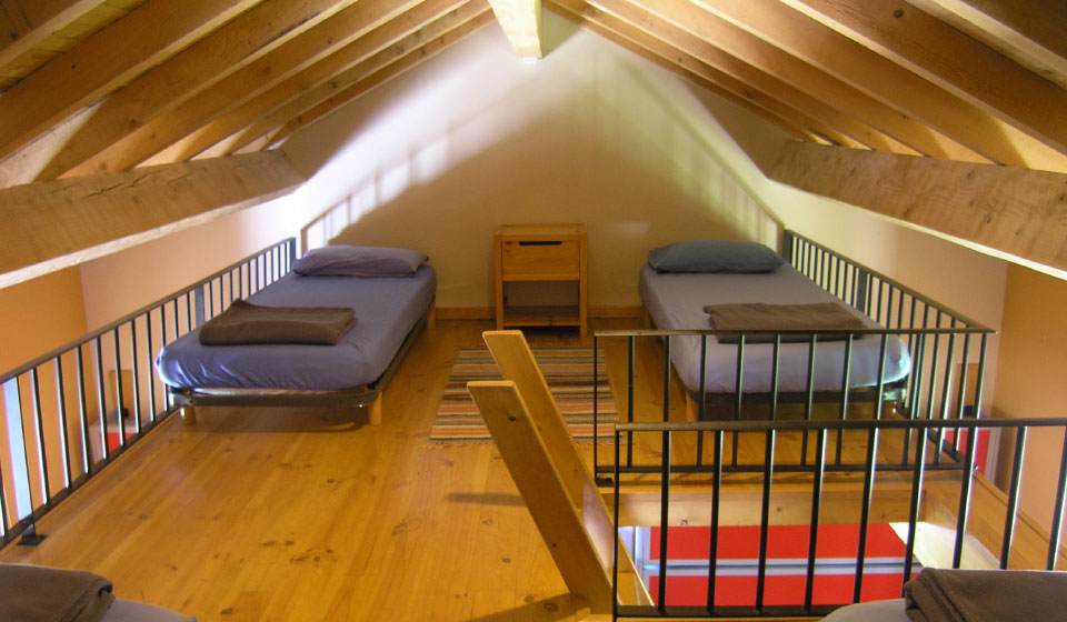 dormitory loft with 4 beds