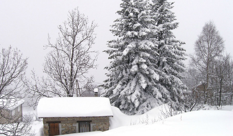 a small house in the village in winter
